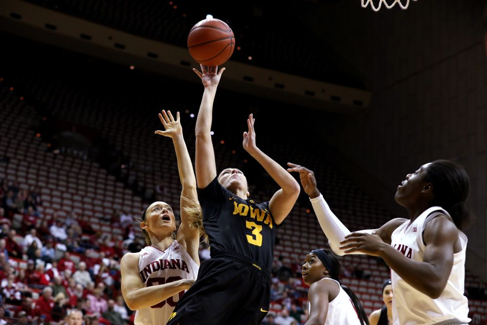 Iowa Hawkeyes guard Makenzie Meyer (3) against the Indiana Hoosiers Thursday, February 21, 2019 at Simon Skjodt Assembly Hall. (Brian Ray/hawkeyesports.com)