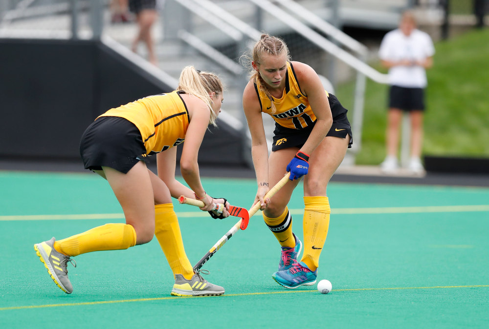 Iowa Hawkeyes Katie Birch (11) and Ellie Holley (7) against Ball State Sunday, September 2, 2018 at Grant Field. (Brian Ray/hawkeyesports.com)