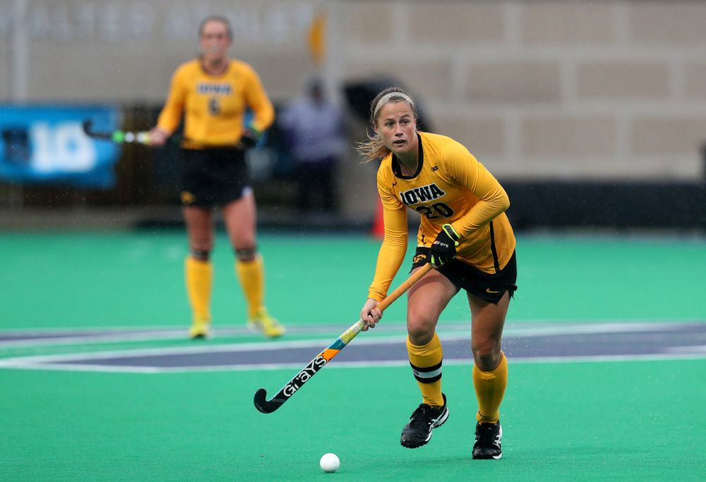 Iowa Hawkeyes Sophie Sunderland (20) against Maryland during the championship game of the Big Ten Tournament Sunday, November 4, 2018 at Lakeside Field in Evanston, Ill. (Brian Ray/hawkeyesports.com)