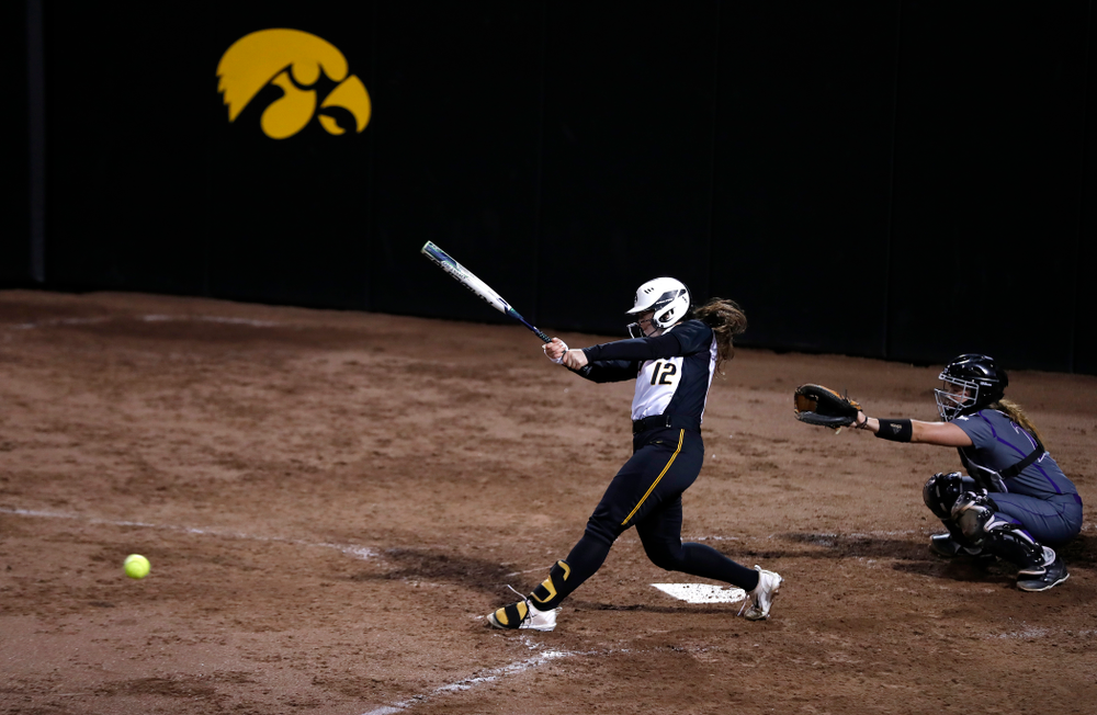 Iowa Hawkeyes catcher Angela Schmiederer (12) against Western Illinois Tuesday, April 17, 2018 at Bob Pearl Field. (Brian Ray/hawkeyesports.com)