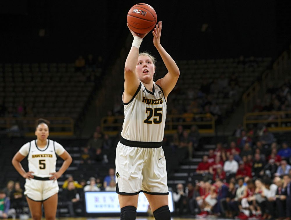 Iowa Hawkeyes forward Monika Czinano (25) makes a free throw during the first overtime period of their game at Carver-Hawkeye Arena in Iowa City on Sunday, January 12, 2020. (Stephen Mally/hawkeyesports.com)