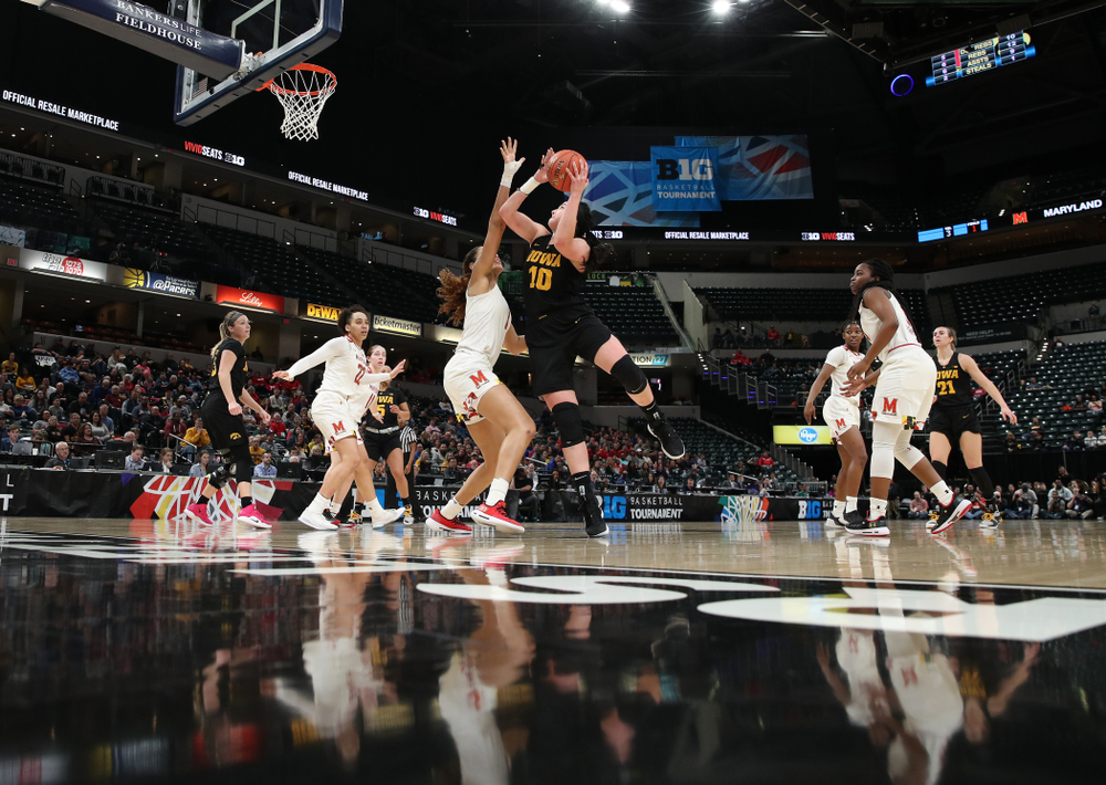 Iowa Hawkeyes forward Megan Gustafson (10) against the Maryland Terrapins in the Big Ten Championship Game Sunday, March 10, 2019 in Indianapolis, Ind. (Brian Ray/hawkeyesports.com)