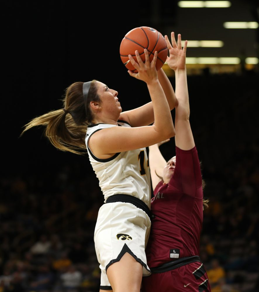 Iowa Hawkeyes forward McKenna Warnock (14) against North Carolina Central Saturday, December 14, 2019 at Carver-Hawkeye Arena. (Brian Ray/hawkeyesports.com)