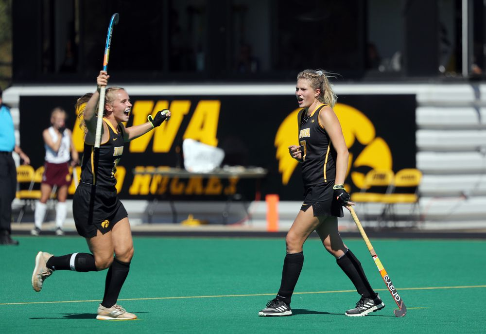 Iowa Hawkeyes Ellie Holley (7) and Katie Birch (11) celebrate a goal against Central Michigan Friday, September 6, 2019 at Grant Field. The Hawkeyes won the game 11-0. (Brian Ray/hawkeyesports.com)