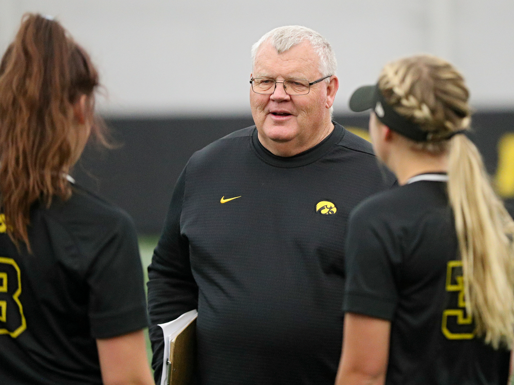 Iowa assistant coach Rick Dillinger talks during Iowa Softball Media Day at the Hawkeye Tennis and Recreation Complex in Iowa City on Thursday, January 30, 2020. (Stephen Mally/hawkeyesports.com)