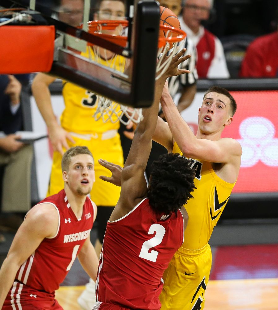 Iowa Hawkeyes guard Joe Wieskamp (10) shoots the ball against Wisconsin on November 30, 2018 at Carver-Hawkeye Arena. (Tork Mason/hawkeyesports.com)