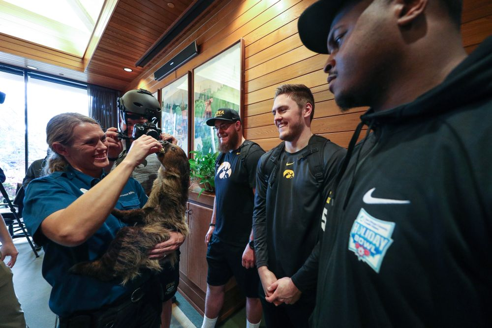 Iowa Hawkeyes offensive lineman Landan Paulsen (68), offensive lineman Levi Paulsen (66), linebacker Nick Niemann (49), and defensive lineman Cedrick Lattimore (95) check out a two toed sloth during a trip to the San Diego Zoo Wednesday, December 25, 2019 in San Diego. (Brian Ray/hawkeyesports.com)