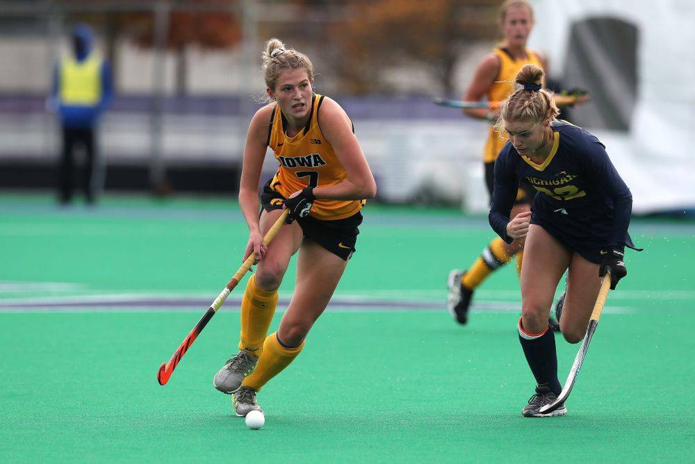 Iowa Hawkeyes Ellie Holley (7) against the Michigan Wolverines in the semi-finals of the Big Ten Tournament Friday, November 2, 2018 at Lakeside Field on the campus of Northwestern University in Evanston, Ill. (Brian Ray/hawkeyesports.com)