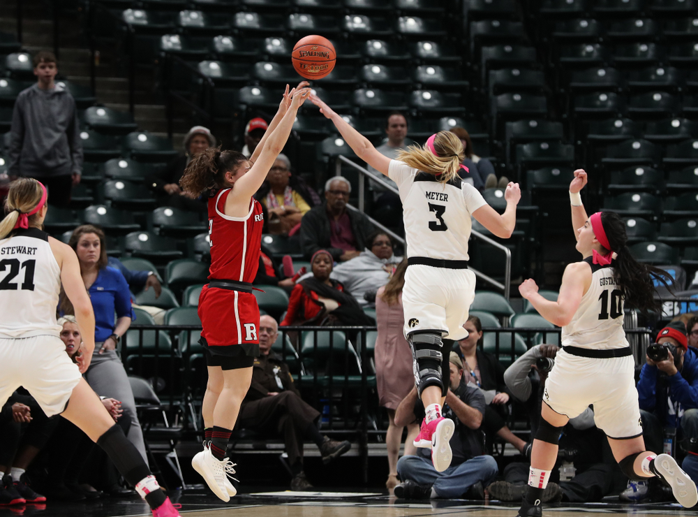 Iowa Hawkeyes guard Makenzie Meyer (3) blocks a shot in the final seconds against the Rutgers Scarlet Knights in the semi-finals of the Big Ten Tournament Saturday, March 9, 2019 at Bankers Life Fieldhouse in Indianapolis, Ind. (Brian Ray/hawkeyesports.com)