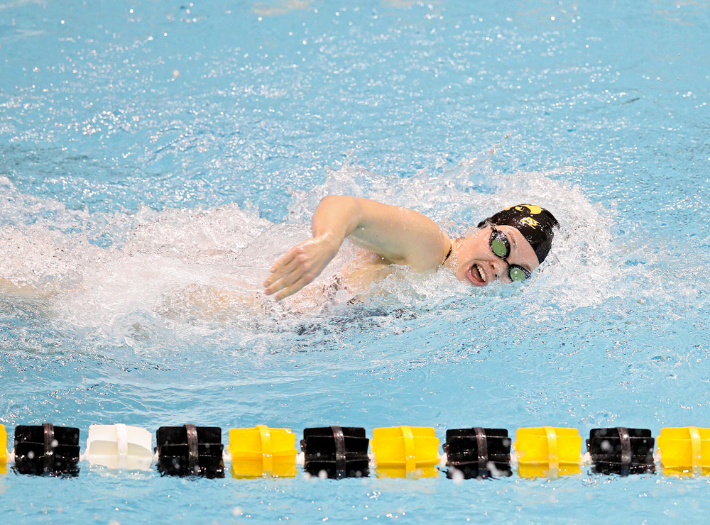Iowa's Lexi Horner swims the women's 100 yard individual medley event during their meet at the Campus Recreation and Wellness Center in Iowa City on Friday, February 7, 2020. (Stephen Mally/hawkeyesports.com)