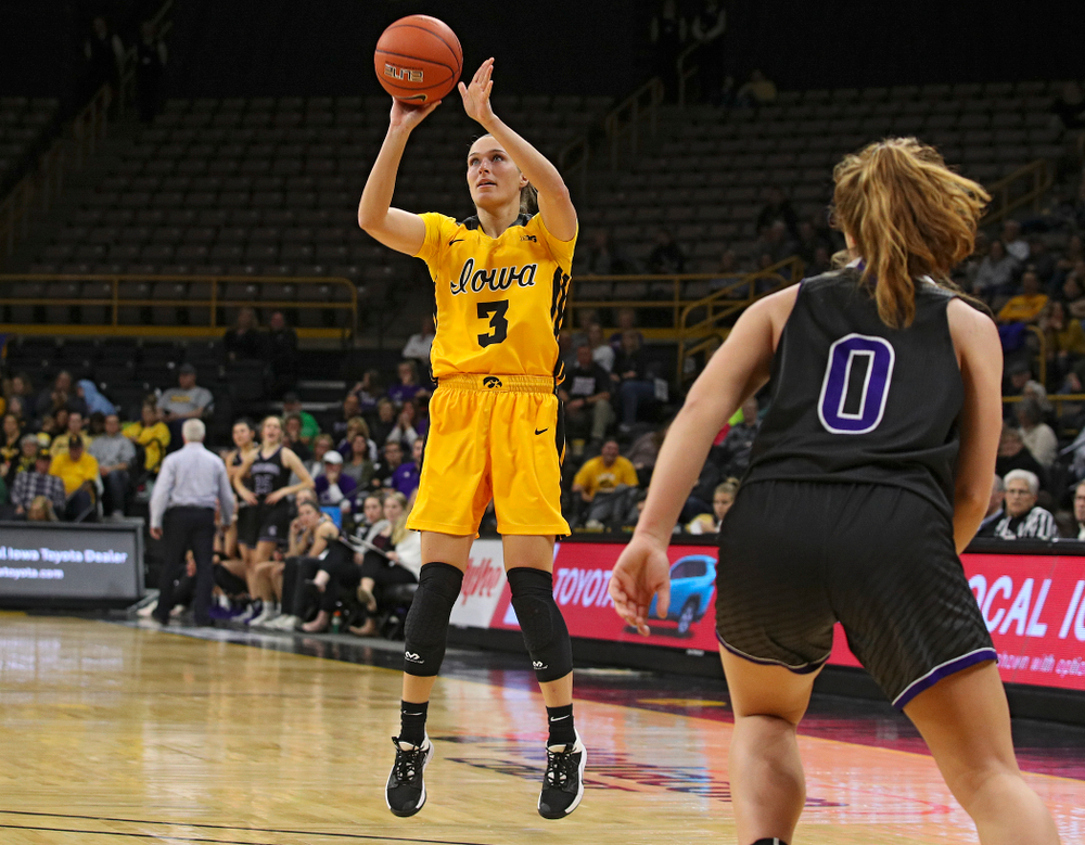 Iowa guard Makenzie Meyer (3) puts up a shot during the third quarter of their game against Winona State at Carver-Hawkeye Arena in Iowa City on Sunday, Nov 3, 2019. (Stephen Mally/hawkeyesports.com)