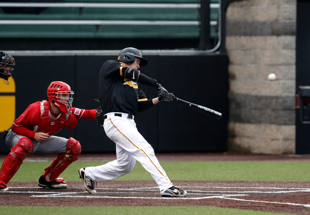 Iowa Hawkeyes outfielder Robert Neustrom (44) against the Bradley Braves Wednesday, March 28, 2018 at Duane Banks Field. (Brian Ray/hawkeyesports.com)