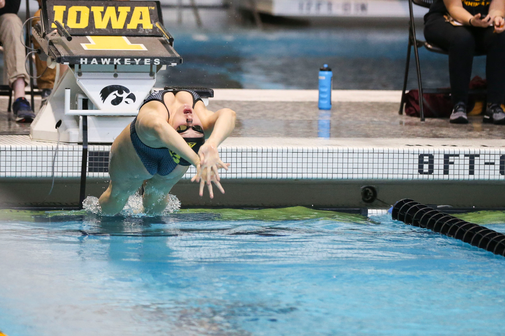 Iowa's Georgia Clark during Iowa swim and dive vs Minnesota on Saturday, October 26, 2019 at the Campus Wellness and Recreation Center. (Lily Smith/hawkeyesports.com)