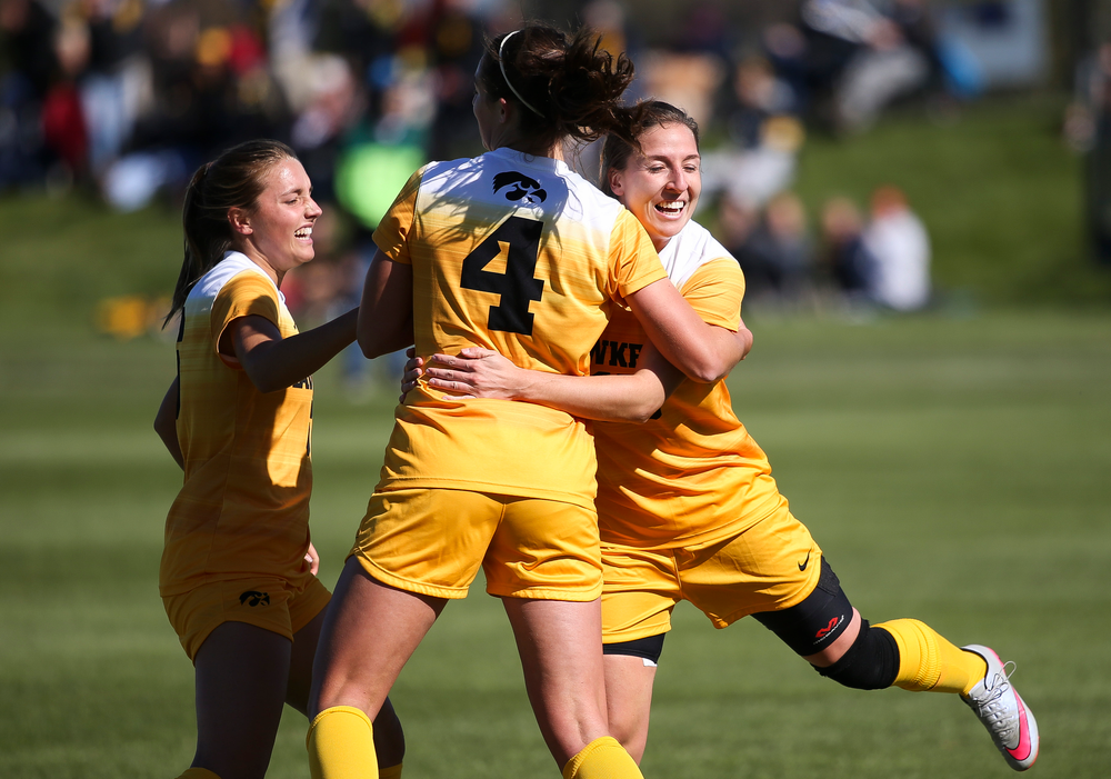 Iowa Hawkeyes forward Rose Ripslinger (15) celebrates after scoring a goal during a game against Northwestern at the Iowa Soccer Complex on October 21, 2018. (Tork Mason/hawkeyesports.com)