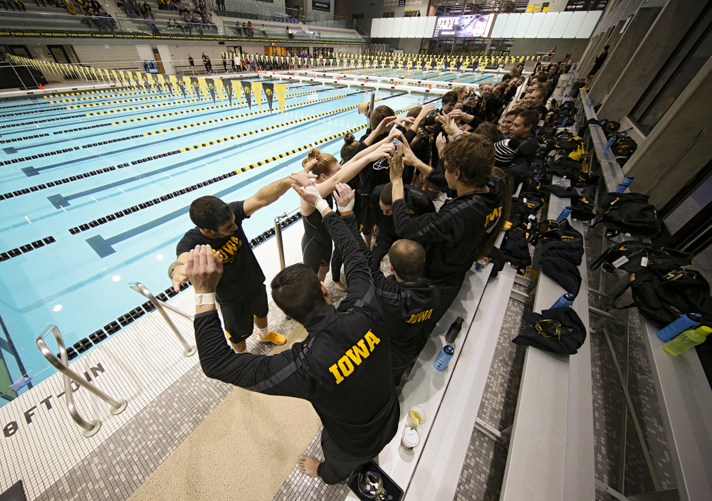 Iowa's Steve Fiolic is honored on senior day before their meet at the Campus Recreation and Wellness Center in Iowa City on Friday, February 7, 2020. (Stephen Mally/hawkeyesports.com)