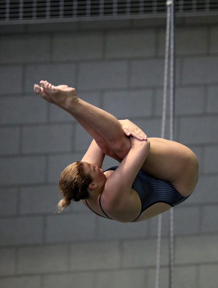 IowaÕs Claire Park competes on the 3 meter springboard against Notre Dame and Illinois Saturday, January 11, 2020 at the Campus Recreation and Wellness Center.  (Brian Ray/hawkeyesports.com)