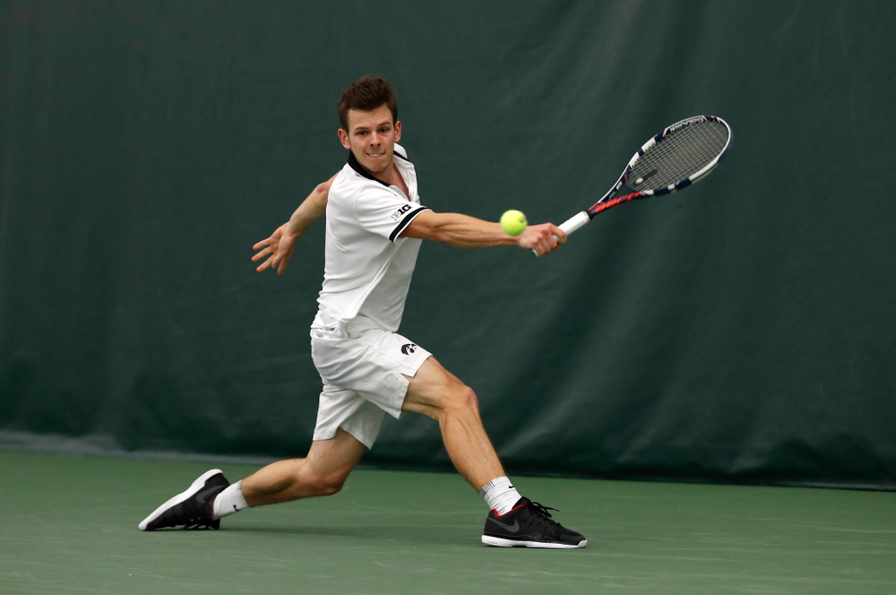 Piotr Smietana against Purdue Sunday, April 15, 2018 at the Hawkeye Tennis and Recreation Center. (Brian Ray/hawkeyesports.com)