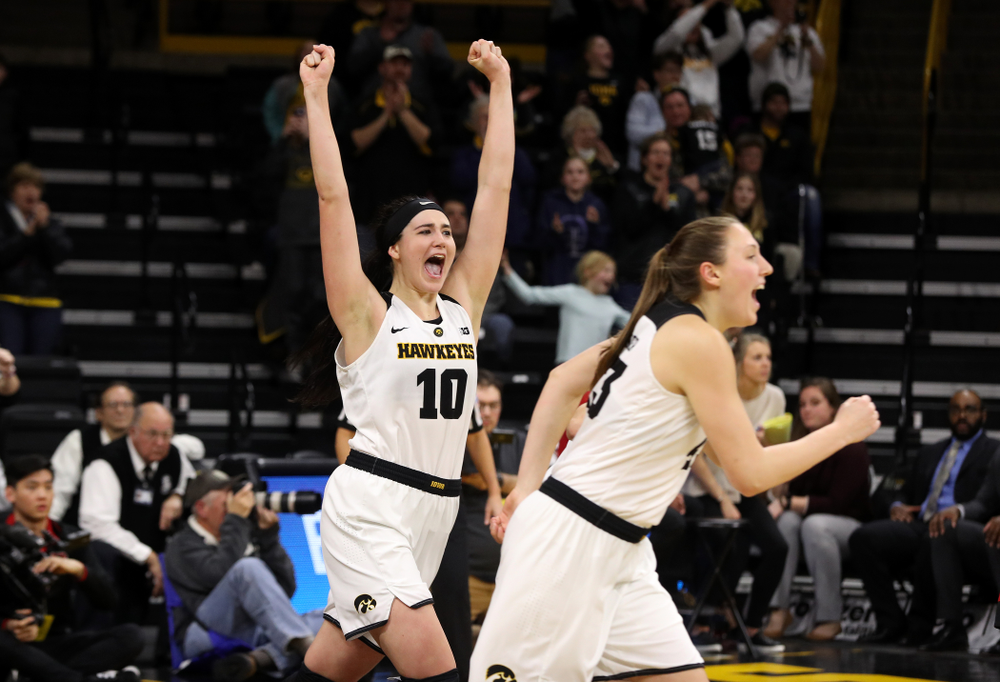 Iowa Hawkeyes forward Megan Gustafson (10) celebrates their victory over the Rutgers Scarlet Knights Wednesday, January 23, 2019 at Carver-Hawkeye Arena. (Brian Ray/hawkeyesports.com)