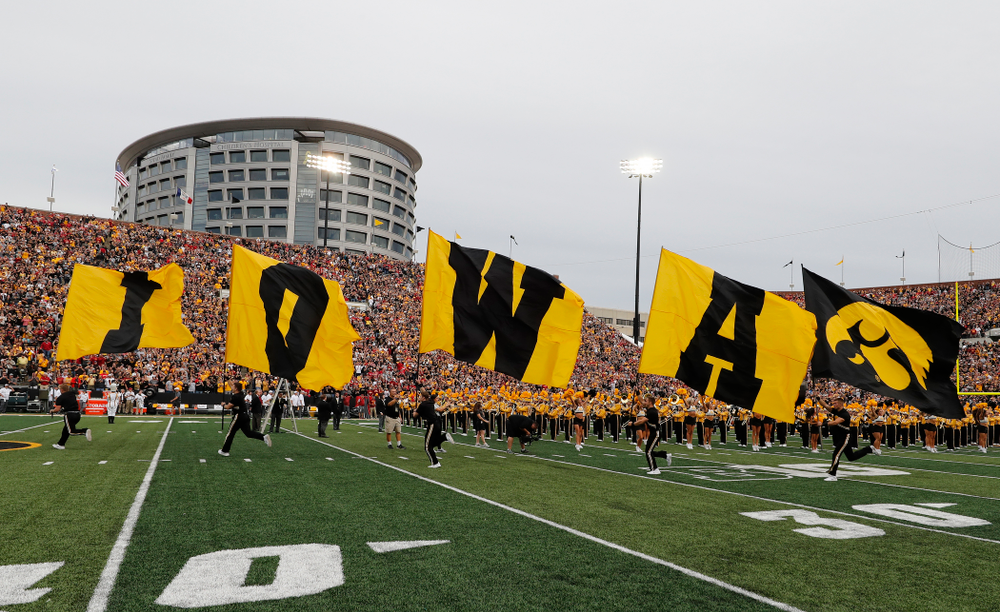 The IOWA flags before the Hawkeyes game against the Iowa State Cyclones Saturday, September 8, 2018 at Kinnick Stadium. (Brian Ray/hawkeyesports.com)