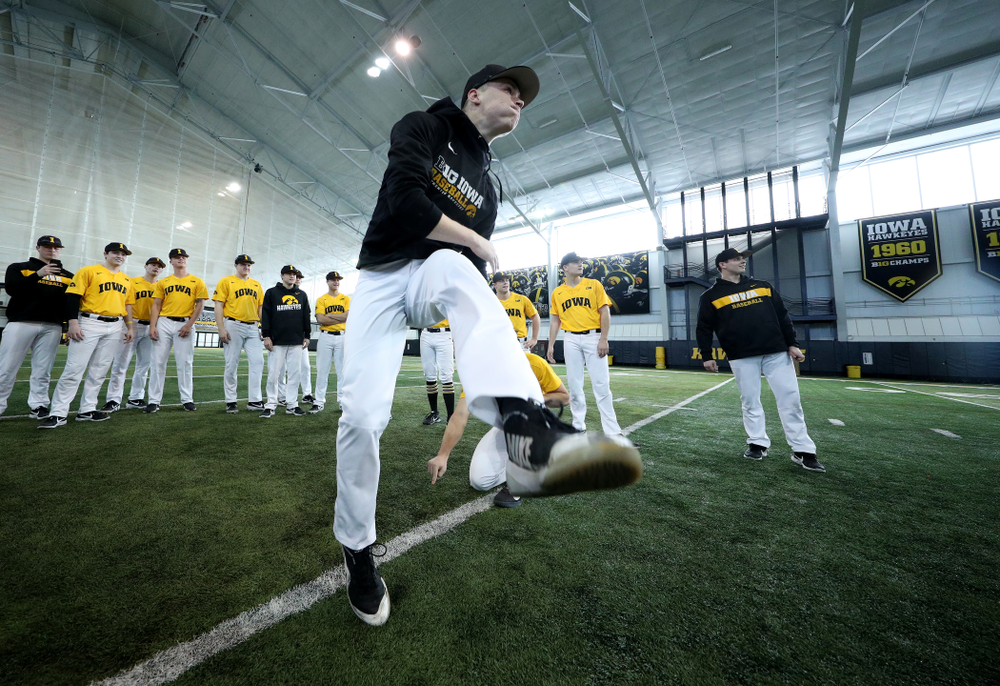 Iowa Hawkeyes Jack Dreyer (33) attempts to kick a field goal before practice Thursday, February 6, 2020 at the Indoor Practice Facility. (Brian Ray/hawkeyesports.com)