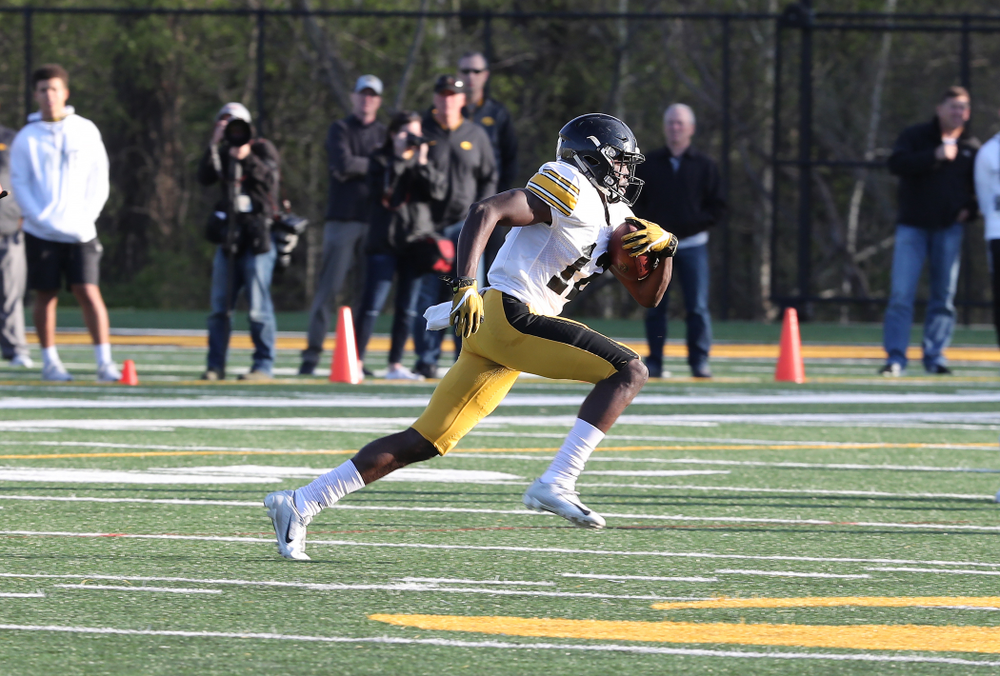 Iowa Hawkeyes defensive back D.J. Johnson (12) during the teamÕs final spring practice Friday, April 26, 2019 at the Kenyon Football Practice Facility. (Brian Ray/hawkeyesports.com)