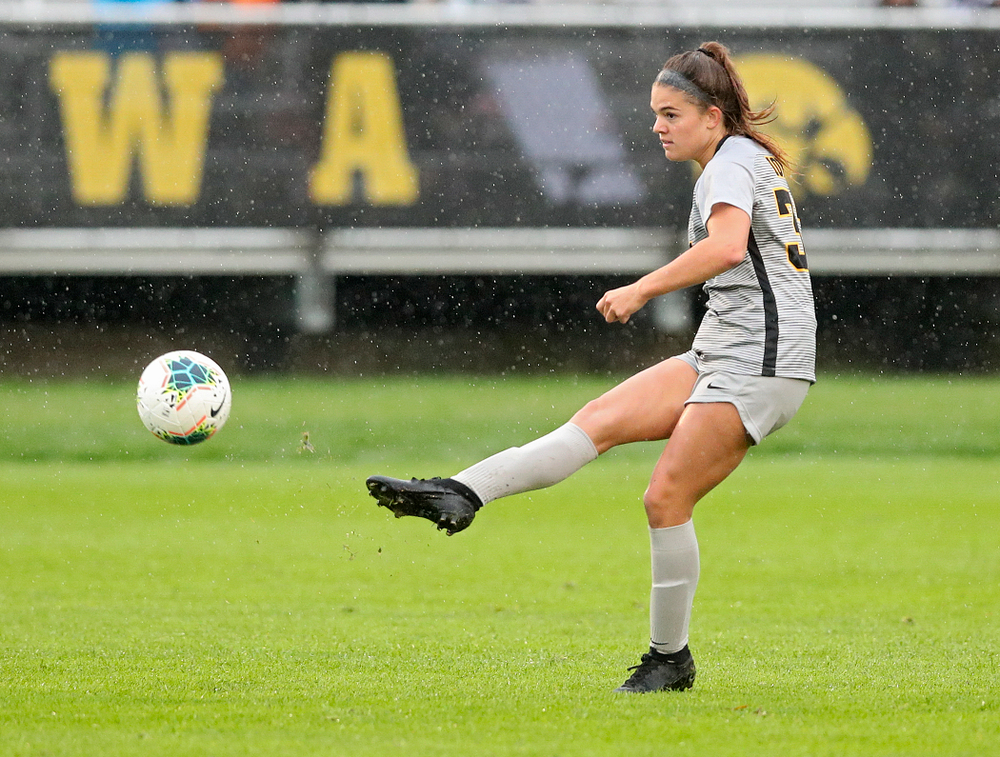 Iowa defender Riley Burns (33) passes the ball during the second half of their match at the Iowa Soccer Complex in Iowa City on Sunday, Sep 29, 2019. (Stephen Mally/hawkeyesports.com)