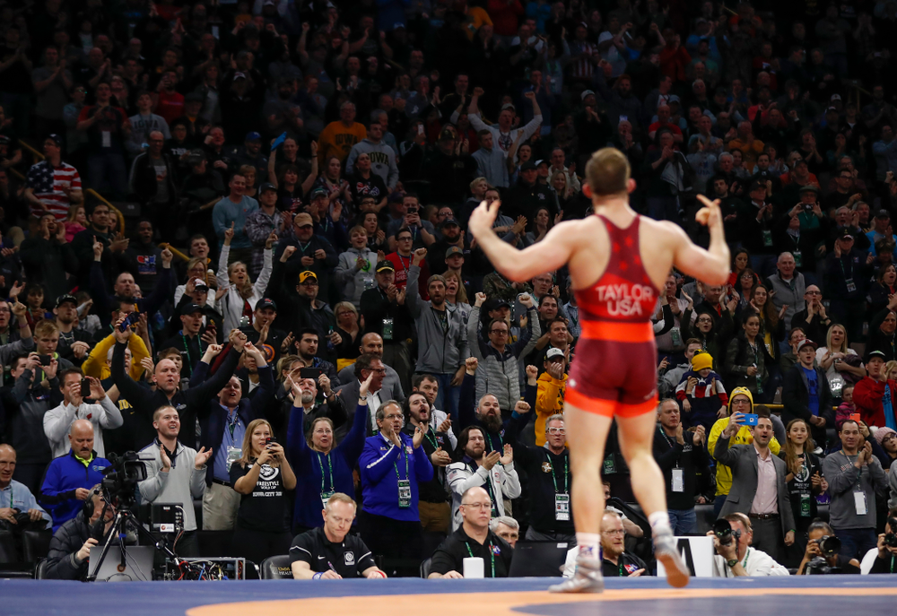 David Taylor during the gold medal match of the United World Wrestling Freestyle World Cup against Azerbaijan Sunday, April 8, 2018 at Carver-Hawkeye Arena. (Brian Ray/hawkeyesports.com)