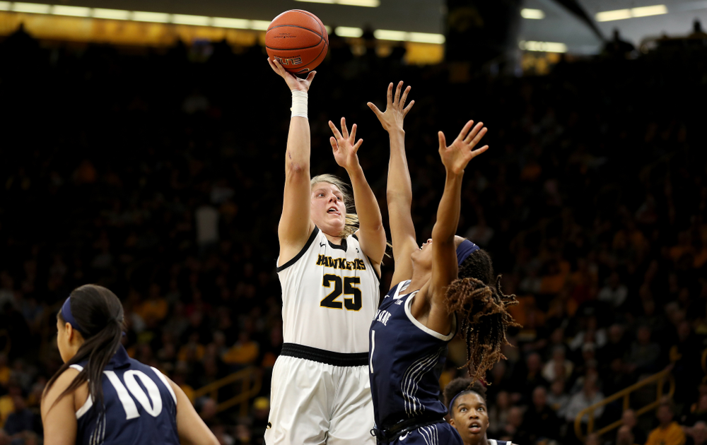 Iowa Hawkeyes forward/center Monika Czinano (25) against Penn State Saturday, February 22, 2020 at Carver-Hawkeye Arena. (Brian Ray/hawkeyesports.com)