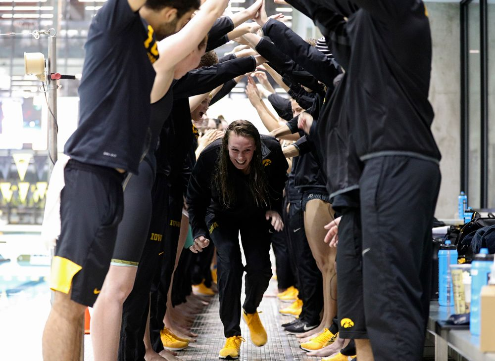 Iowa's Allyssa Fluit is honored on senior day before their meet at the Campus Recreation and Wellness Center in Iowa City on Friday, February 7, 2020. (Stephen Mally/hawkeyesports.com)