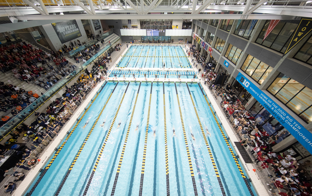 The women's 500 yard freestyle C finals event during the 2020 Women's Big Ten Swimming and Diving Championships at the Campus Recreation and Wellness Center in Iowa City on Thursday, February 20, 2020. (Stephen Mally/hawkeyesports.com)