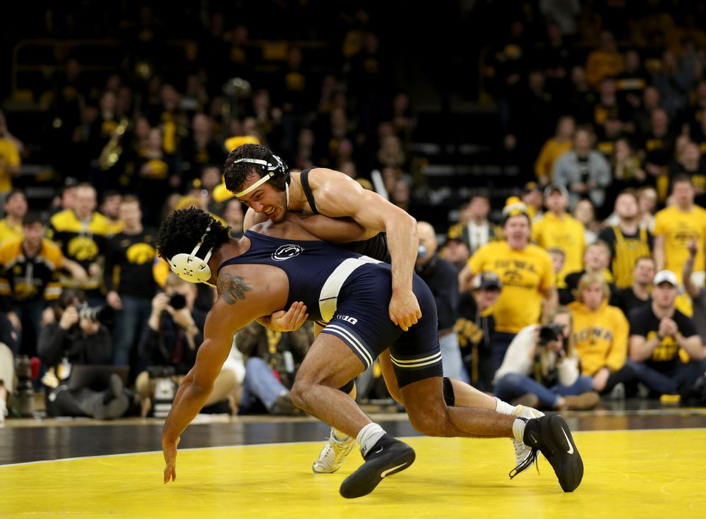Iowa's Michael Kemerer wrestles Penn State's Mark Hall at 174 pounds Friday, January 31, 2020 at Carver-Hawkeye Arena. Kemerer won the match 11-6. (Brian Ray/hawkeyesports.com)
