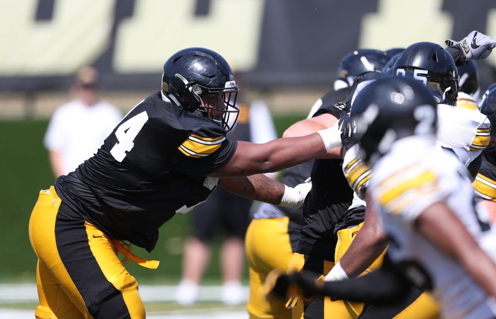 Iowa Hawkeyes offensive lineman Tristan Wirfs (74) during Fall Camp Practice No. 5 Tuesday, August 6, 2019 at the Ronald D. and Margaret L. Kenyon Football Practice Facility. (Brian Ray/hawkeyesports.com)