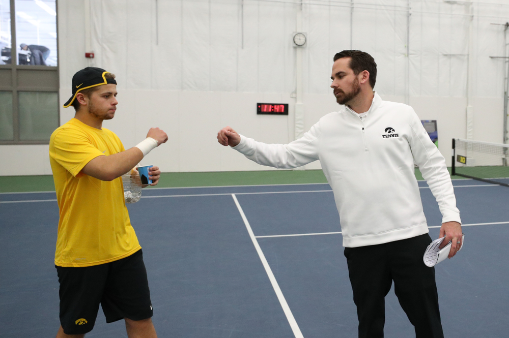 Iowa Hawkeyes Head Coach Ross Wilson against the Butler Bulldogs Sunday, January 27, 2019 at the Hawkeye Tennis and Recreation Complex. (Brian Ray/hawkeyesports.com)