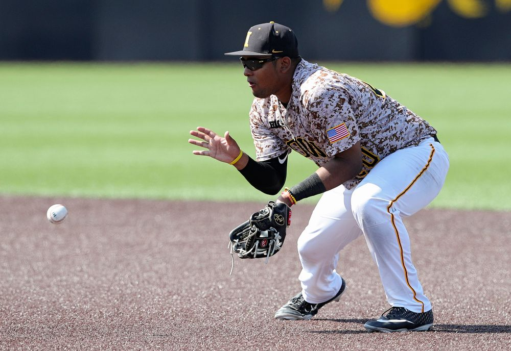 Iowa Hawkeyes second baseman Izaya Fullard (20) fields a ground ball during the sixth inning of their game against UC Irvine at Duane Banks Field in Iowa City on Sunday, May. 5, 2019. (Stephen Mally/hawkeyesports.com)