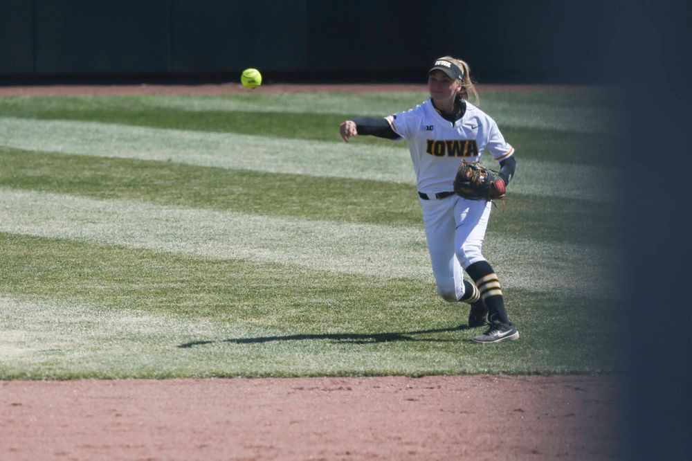 Iowa's Aralee Bogar (2) at game 3 vs Northwestern on Sunday, March 31, 2019 at Bob Pearl Field. (Lily Smith/hawkeyesports.com)