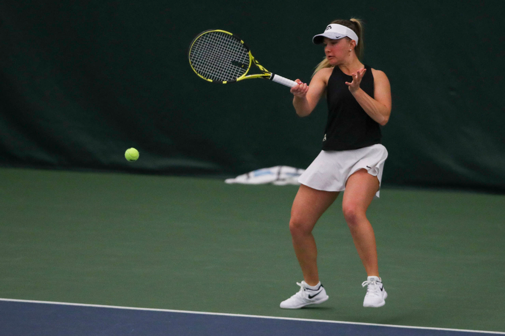 IowaÕs Danielle Burich at womenÕs tennis senior day vs Nebraska on Saturday, April 13, 2019 at the Hawkeye Tennis and Recreation Complex. (Lily Smith/hawkeyesports.com)