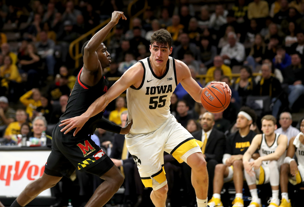 Iowa Hawkeyes forward Luka Garza (55) against the Maryland Terrapins Friday, January 10, 2020 at Carver-Hawkeye Arena. (Brian Ray/hawkeyesports.com)