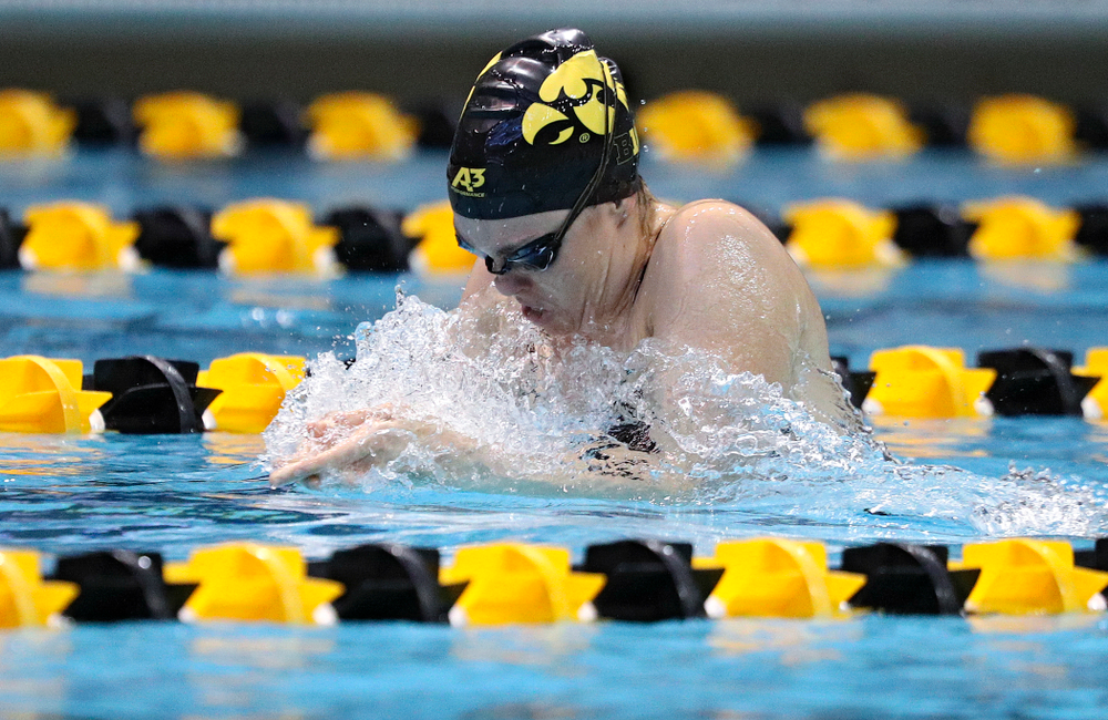 Iowa's Lexi Horner swims the breaststroke section of the women's 200-yard medley relay event during their meet against Michigan State and Northern Iowa at the Campus Recreation and Wellness Center in Iowa City on Friday, Oct 4, 2019. (Stephen Mally/hawkeyesports.com)