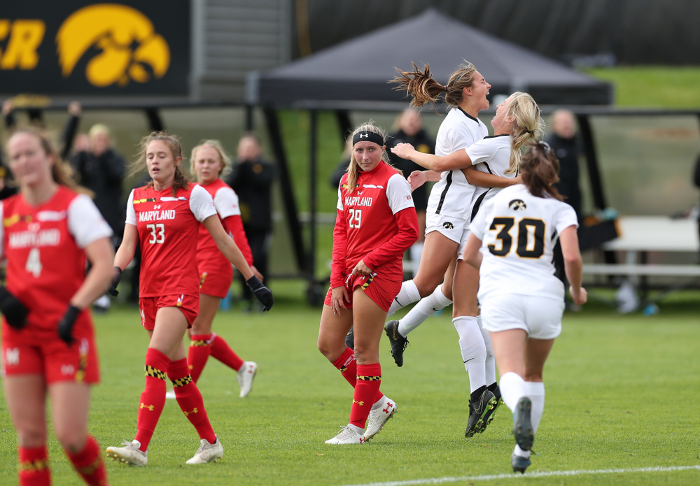 Iowa Hawkeyes midfielder Isabella Blackman (6) celebrates after scoring against the Maryland Terrapins Sunday, October 13, 2019 on senior day. (Brian Ray/hawkeyesports.com)