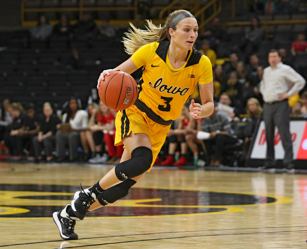 Iowa Hawkeyes guard Makenzie Meyer (3) drives with the ball during the fourth quarter of their game at Carver-Hawkeye Arena in Iowa City on Thursday, January 23, 2020. (Stephen Mally/hawkeyesports.com)