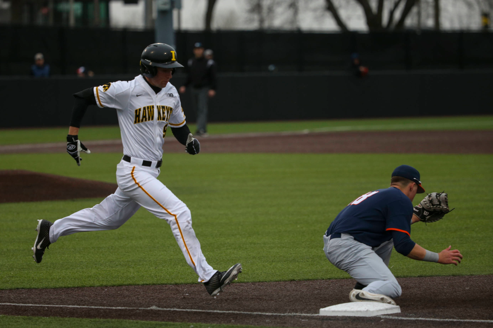 Iowa outfielder Ben Norman  at game 1 vs Illinois on Friday, March 29, 2019 at Duane Banks Field. (Lily Smith/hawkeyesports.com)