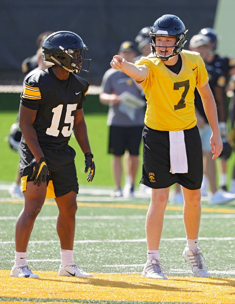 Iowa Hawkeyes quarterback Spencer Petras (7) shouts at the line as running back Tyler Goodson (15) looks on during Fall Camp Practice No. 13 at the Hansen Football Performance Center in Iowa City on Friday, Aug 16, 2019. (Stephen Mally/hawkeyesports.com)