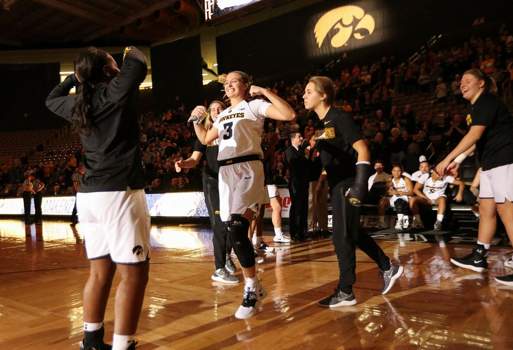 Iowa Hawkeyes guard Makenzie Meyer (3) is introduced before a game against North Carolina Central at Carver-Hawkeye Arena on November 17, 2018. (Tork Mason/hawkeyesports.com)