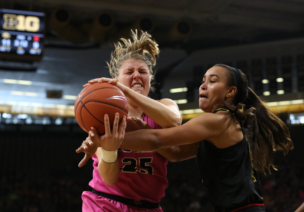 Iowa Hawkeyes forward/center Monika Czinano (25) against the seventh ranked Maryland Terrapins Sunday, February 17, 2019 at Carver-Hawkeye Arena. (Brian Ray/hawkeyesports.com)