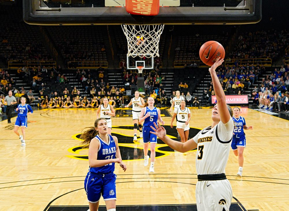 Iowa Hawkeyes guard Makenzie Meyer (3) scores a basket during the third quarter of their game at Carver-Hawkeye Arena in Iowa City on Saturday, December 21, 2019. (Stephen Mally/hawkeyesports.com)