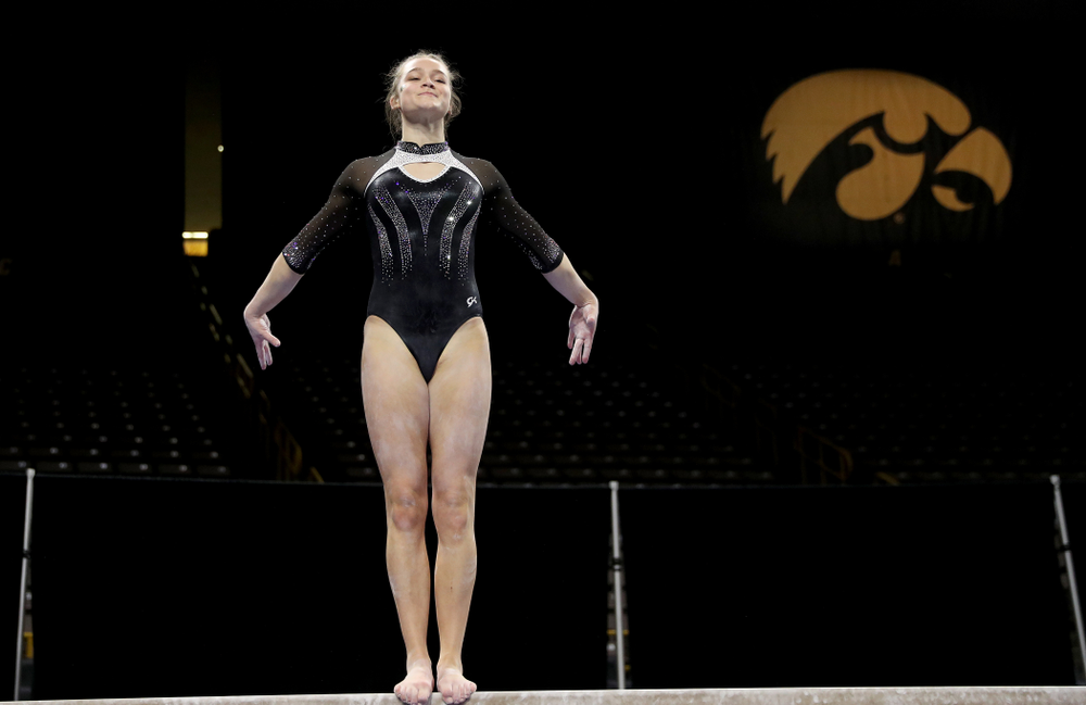Iowa's Mackenzie Vance competes on the beam against Michigan State Saturday, February 1, 2020 at Carver-Hawkeye Arena. (Brian Ray/hawkeyesports.com)