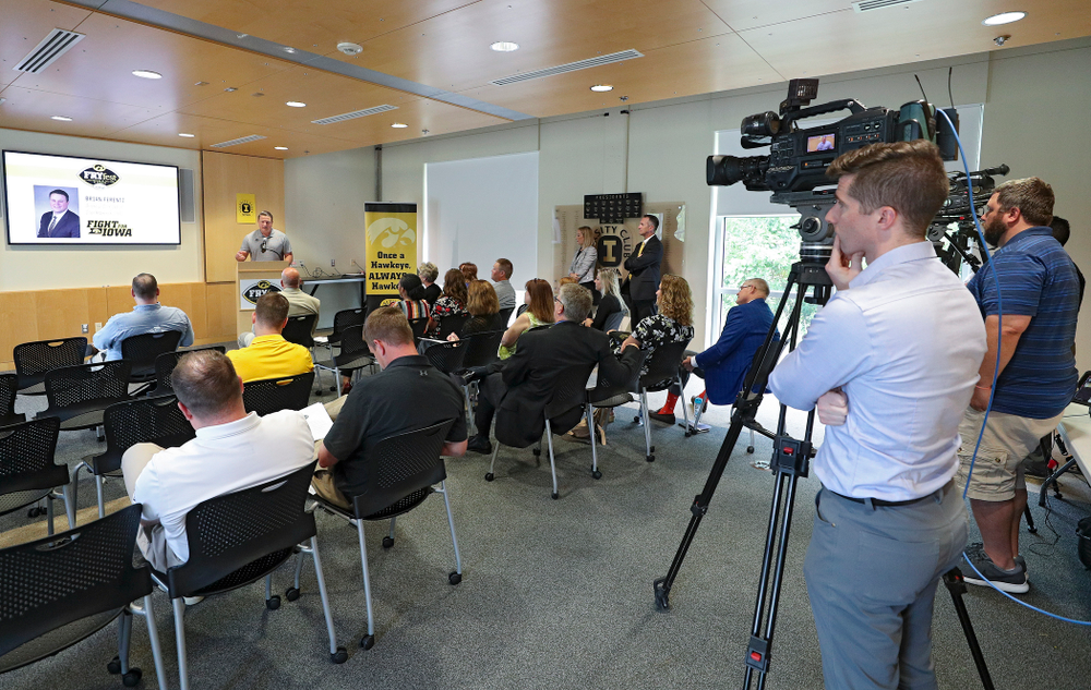 Brian Ferentz, Offensive Coordinator for Iowa Football, speaks during the press conference to discuss FryFEST and announce the 2019 Iowa Athletics Hall of Fame members in the Varsity Club Room at the University of Iowa Athletics Hall of Fame in Iowa City on Tuesday, Jun 11, 2019. (Stephen Mally/hawkeyesports.com)