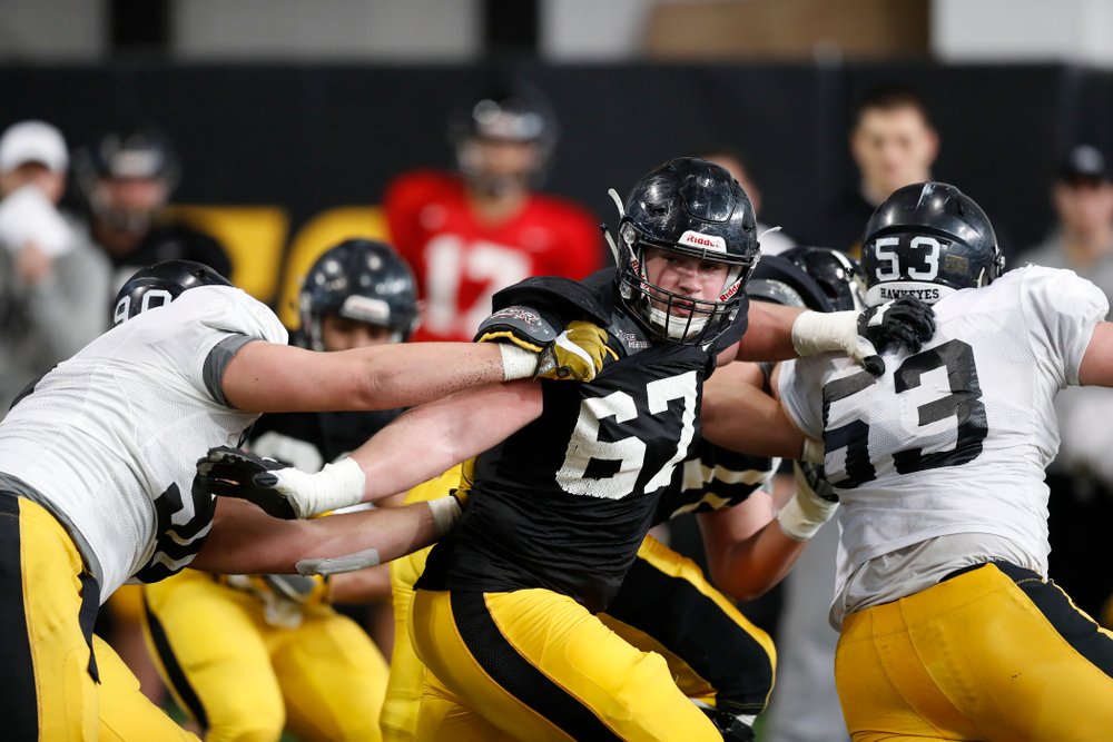 Iowa Hawkeyes defensive end Levi Duwa (67) Wednesday, April 4, 2018 at the Hansen Football Performance Center. (Brian Ray/hawkeyesports.com)