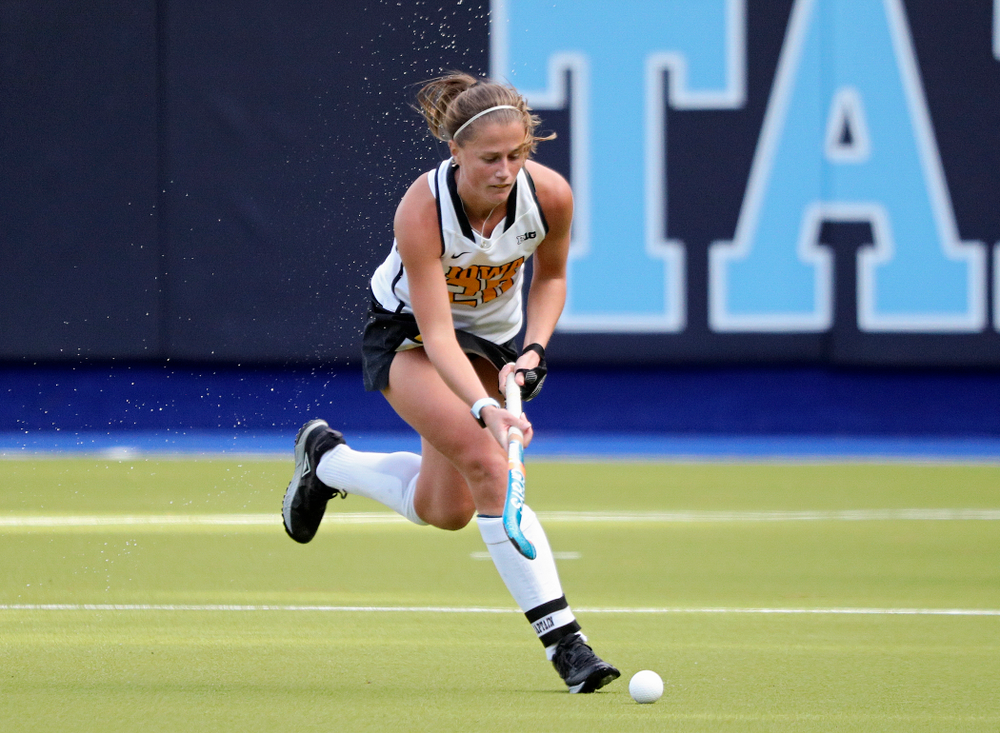 Iowa's Sophie Sunderland (20) moves with the ball during the second quarter of their NCAA Tournament Second Round match against North Carolina at Karen Shelton Stadium in Chapel Hill, N.C. on Sunday, Nov 17, 2019. (Stephen Mally/hawkeyesports.com)