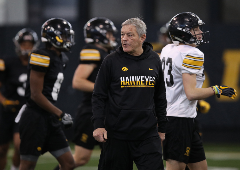 Iowa Hawkeyes head coach Kirk Ferentz during preparation for the 2019 Outback Bowl Monday, December 17, 2018 at the Hansen Football Performance Center. (Brian Ray/hawkeyesports.com)